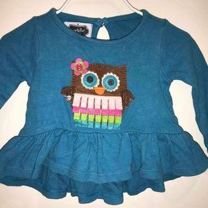 Mud Pie Owl Shirt Blue GUC ww 6-9M